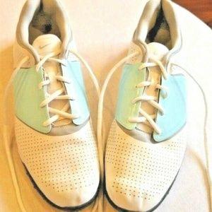 Nike Golf Lunarlon Leather White Blue Grey Sz 9M